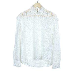 Sandro Paris White Lace Coleta Mock Neck Blouse